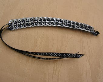 Bracelet made with strips of cans, Black Ribbon has small dots