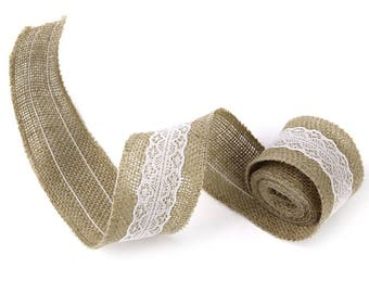1 roll of Jute Ribbon and lace trim for sewing craft accessory