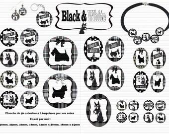 Envoi gratuit ! Images digitales BLACK & WHITE, chiens