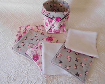 six wipes eco-friendly demaquillantes and bag.