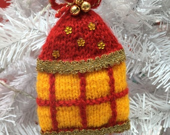 Hand Knitted Christmas Lantern Tree Decorations
