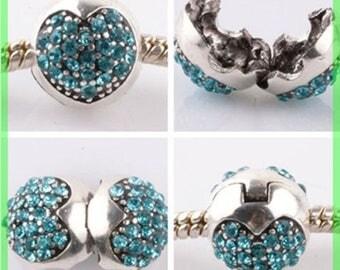 Pearl N953 clip stopper European blocker rhinestones for charms bracelet
