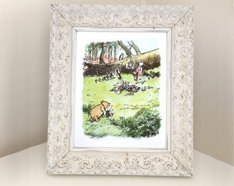 Vintage Illustration of Winnie the Pooh, Piglet & Christopher Robin. A A Milne Book Page for Framing. Gift for Boy or Girl Nursery Decor