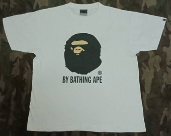 Vintage Bape Bathing Ape Big Logo T shirt Single Stich Made In Japan Large Size