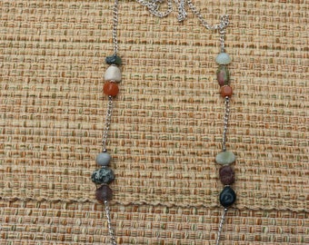 Silver necklace with natural stone accents