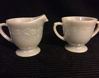 Vintage 1950's Fire King sugar and cream set