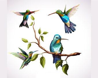 ORIGINAL design, durable and WASHABLE PLACEMAT - Trio of hummingbirds.