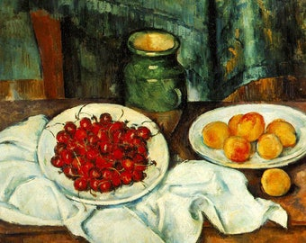 ORIGINAL design, durable and WASHABLE PLACEMAT - Paul Cezanne - still life with cherries and peaches - classic.