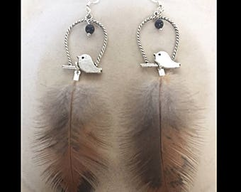 Earrings natural feathers, prints and glass-beads