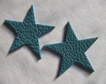 set of 2 large stars turquoise leather