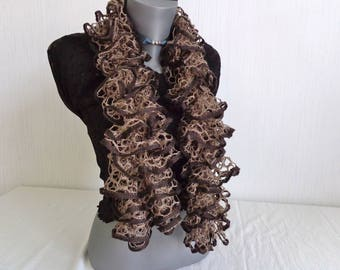 SCARF FROU-FROU caramel chocolate knit handmade