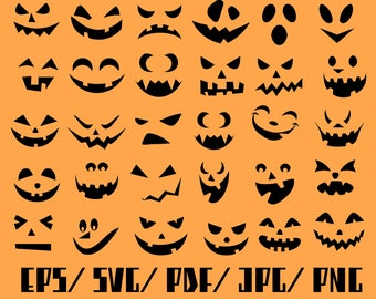 Pumpkin Faces Svg, Pumpkin Svg, pumpkin face vinyl, pumpkin face decals, pumpkin face stencil,Halloween Svg Silhouettes, Silhouette Files