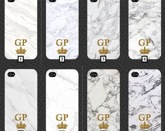 Personalised White Marble Phone Case With Gold Glitter Initials and Crown Customised Cover Cheap Effect Stone Your Personalise Black White