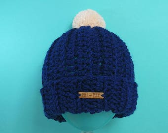Adults | NAVY BLUE | Unisex Crocheted Bobble Hat | With Cream Pom Pom