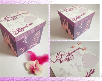 Box keepsake - Castle Princesses and butterflies