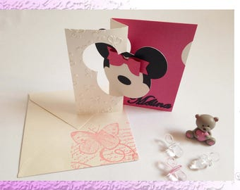 Christening or birth - Theme invitations: back to childhood, mouse - personalisation choice