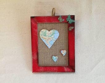 Picture frame,Framed wall art, Valentine's Day gift, Mixed media wall art,Gift for her,Gift for him