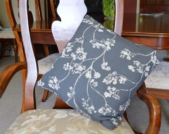Slate Blue and White Floral Cushion