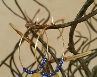 Hoop earrings Golden cloud blue