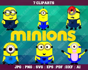 Minions Clipart – 6(Svg, Eps, Png, Jpg Files) – 300 PPI – Minions Decoration – Despicable Me Printable – Minions Birthday – Minions Vector