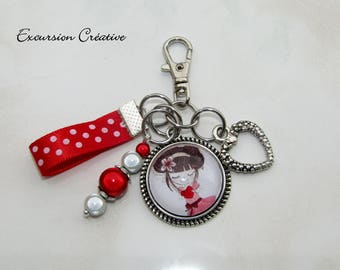 Keychain or bag Miss red heart love charm