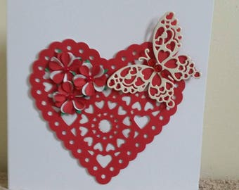 pretty white and red handmade layered heart and butterfly card