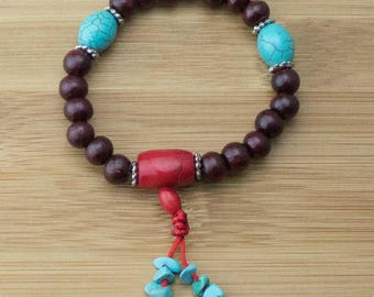 Rosewood Buddhist Mala Bracelet with Turquoise Magnesite & Red Bamboo Coral