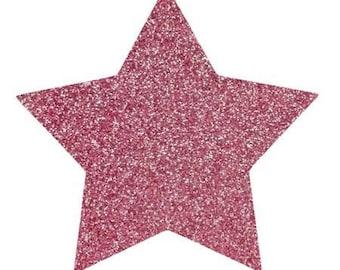 10 X 9.5 cm light pink glittery star fusible pattern