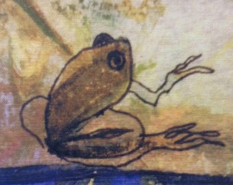 Fabric Print of a Frog Abstract 20cmx22cm