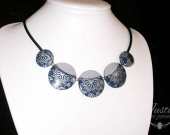 Blue and silver polymer clay necklace