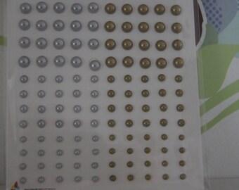 120 half adhesive pearls silver & gold