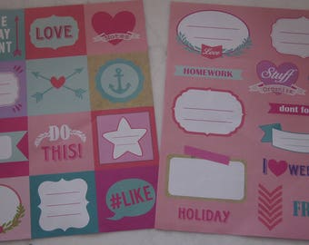 SET OF 2 BOARDS GIRLY THEME STICKERS CHALKBOARD LABELS