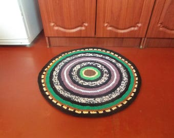 Crochet Round Small Rag Rug Runner Knitted Carpets Mat Rustic Home Decor  Green Brown Rug Carpet
