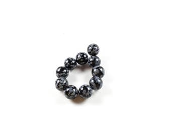 Snowflake Obsidian beads 10 natural 8mm LBP00020