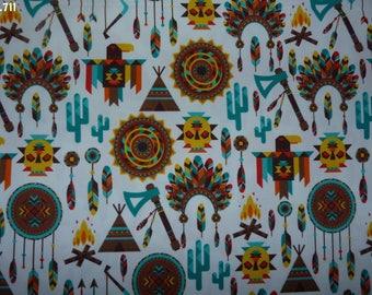 Fabric patterns C711 Indian Brown/green/yellow/orange coupon 50x50cm