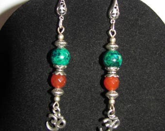 Azurites Chrysocollas, carnelians and Aum earrings