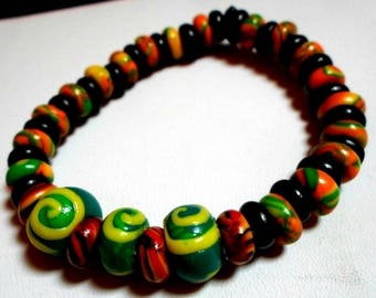 85 in colorful polymer clay Beads Bracelet