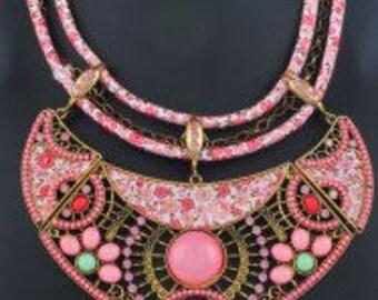 Ethnic Floral Enamel Statement Necklace