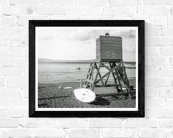 Digital photo download - Black and white, Lifeguard at the Lake