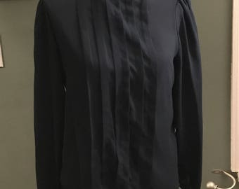 New Expressions Navy Vintage Blouse with Pleating Size 12