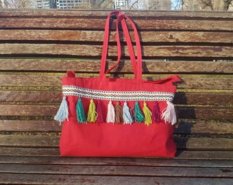 Medium Boho Tote Bag with Zipper