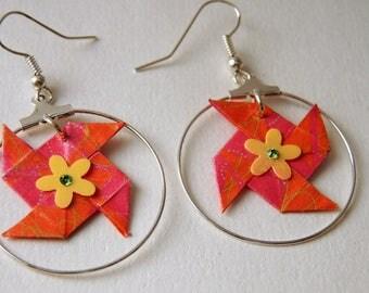 """""""Windmill"""" Origami earrings Pink Orange green branch"""