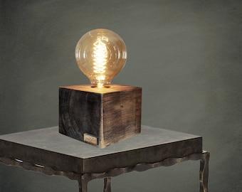 CARINA - Unique wooden table lamp, Table lamp, Desk lamp, Wood lamp, Wood, Edison Bulb