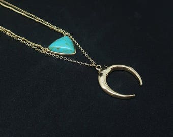 ALICE Horn necklace in Turquoise and gold