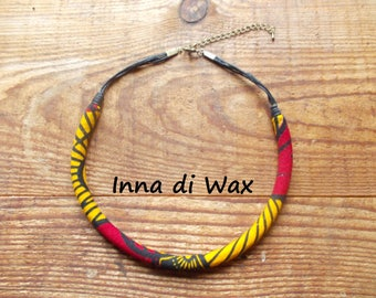 Maasai style necklace made of wax (African fabric) 22023