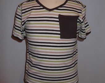 DAD T-SHIRT STRIPED BEIGE BROWN JERSEY