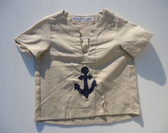 TUNIC COTTON NAVY LINEN AND COTTON WITH ANCHOR 2 YEARS