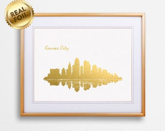 Kansas City Skyline Gold Print, Real Gold Foil Print, Kansas City Poster, Kansas City Wall Art, Kansas City Print, GoldenGraphy