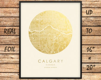 """Calgary City 16""""x20"""" Map Gold Print, Real Gold Foil Print, Calgary City Map Poster, Calgary Circle Map, Calgary Gift, Canada, GoldenGraphy"""