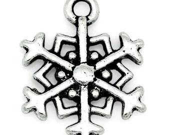 lot 2 metal snowflake charms silver 18 x 14 mm